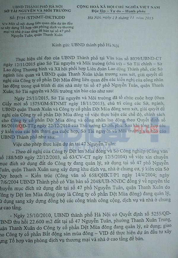 Văn bản 8196các Sở ban ngành họp và thông báo lên UBND Thành phố Hà Nội xem xét, giải quyết đề nghị của Cty Dệt.