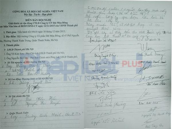Biên bản Hội nghị và chữ ký đại diện của các Sở, ban ngànhtại hội trường Cty Dệt