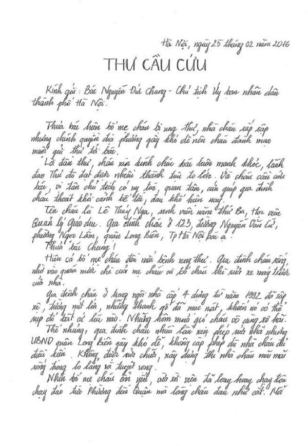Nội dung bức thư nữ sinh Lê Thuý Nga gửi Chủ tịch UBND TP Hà Nội.