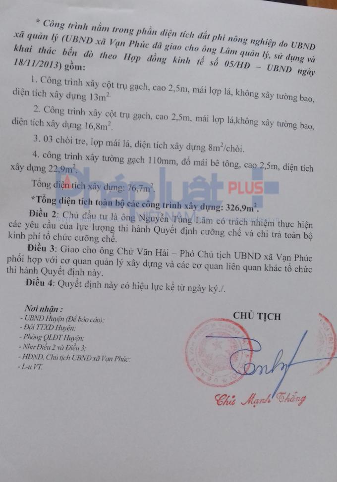 Quyết định cưỡng chế nhà hàng trái phép của UBND xã Vạn Phúc (Thanh Trì, Hà Nội).