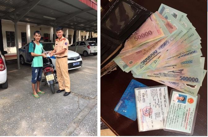 Tổ công tác CSGT số 3 - Công an Hà Nội trả lại tài sản cho người bị mất.