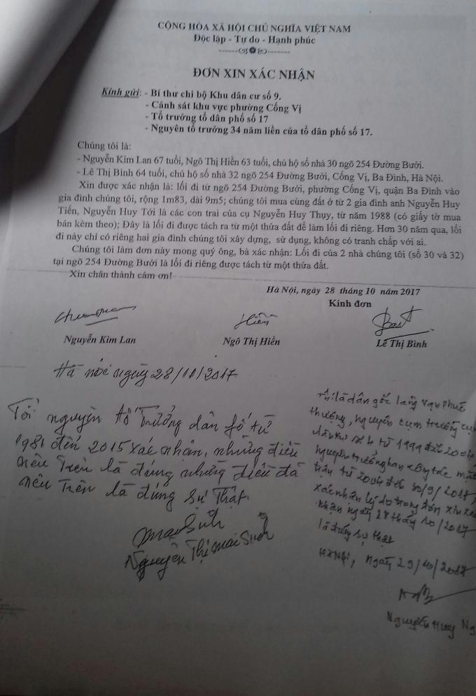 Xác nhận của bàguyễn Thị Mai Sinh - Nguyên Tổ trưởng tổ dân phố từ năm 1988 đến năm 2015 cũng xác nhận lối đi này là lối đi riêng của 2 nhà số 30 và 32.