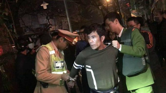 Đối tượng Hùng bị bắt giữ.