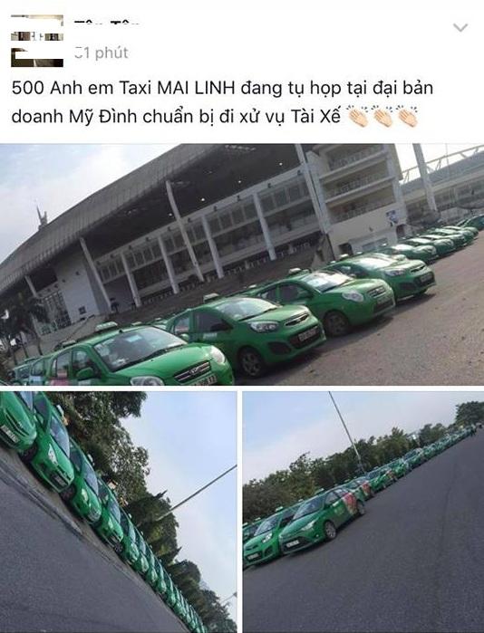 """Thông tin trên mạng xã hội cho là""""500 anh em"""" taxi Mai Linh tụ họp để 'xử' người đàn ông đi Mercedes cầm gạch tấn công tài xế của hãng xe này."""