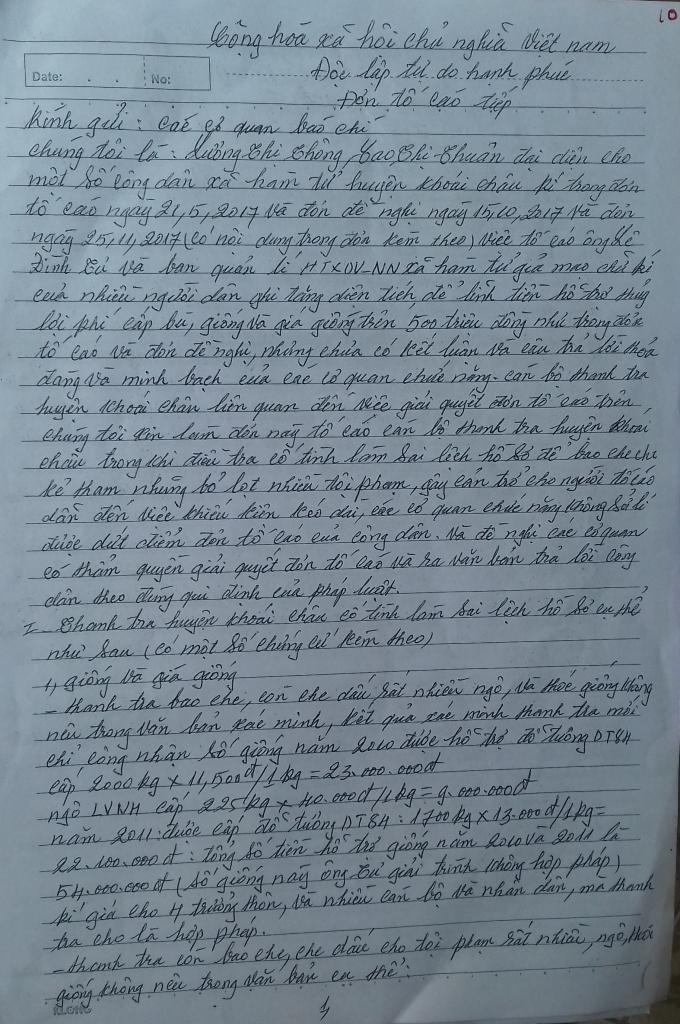 Đơn tố cáoBan quản lý Hợp tác xã dịch vụ nông nghiệp xã Hàm Tử giả mạo chữ ký chiếm đoạt tài sản của người dân.