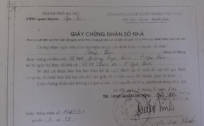 Giấy chứng nhận số nhà 347 là số nhà ông Doãn Lâm.