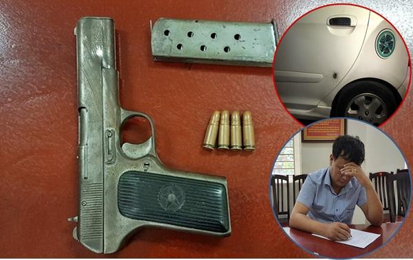 Khẩu súng và đối tượng bắt giữ tại cơ quan công an. (Ảnh ANTĐ)