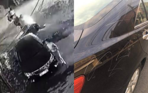 Chân dung người phụ nữ cào xước xe Camry được camera ghi lại.