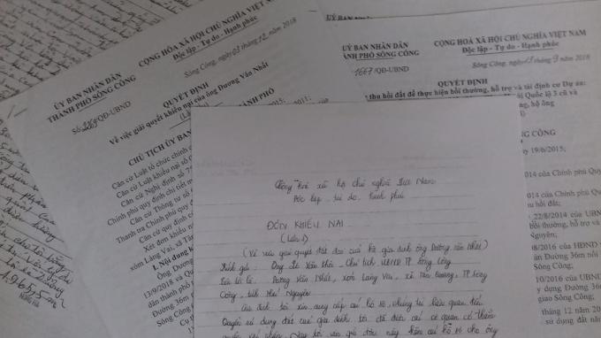 Đơn khiếu nại của gia đình ông Nhất và các văn bản trả lời của UBND TP Sông Công.