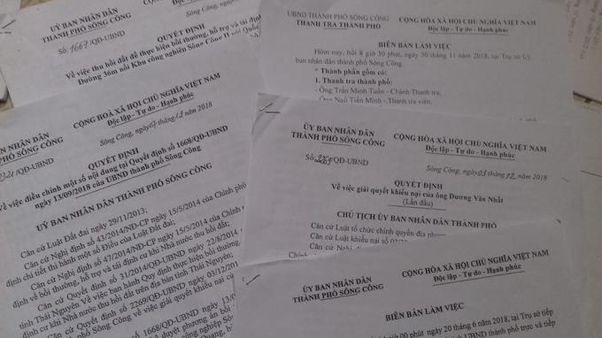 Rất nhiều Quyếtđịnh của UBND TP Sông Công giải quết vụ việc.