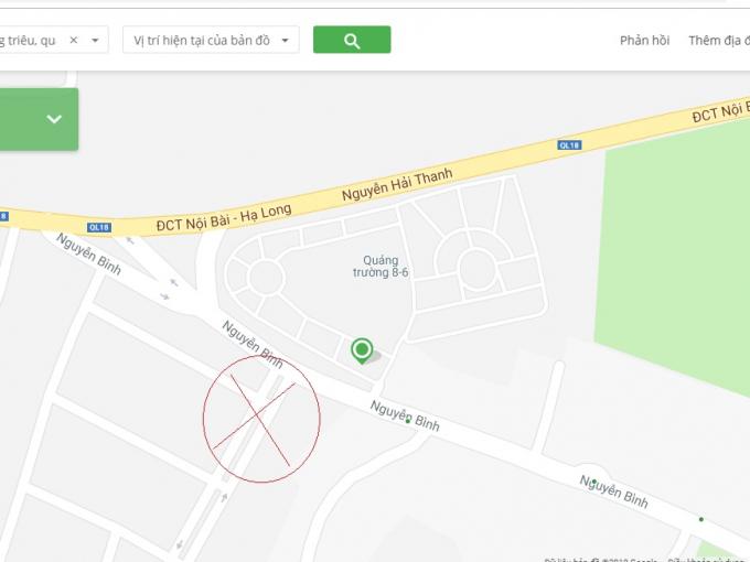 Quáncà phê Sanfran Cisco xây trên mương nước (khu vực vòng tròn đỏ). Ảnh Google Map.