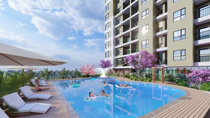 Pic 3: Trong ảnh là tiện ích bể bơi chân mây tại bể bơi tại tầng 5 của dự án.