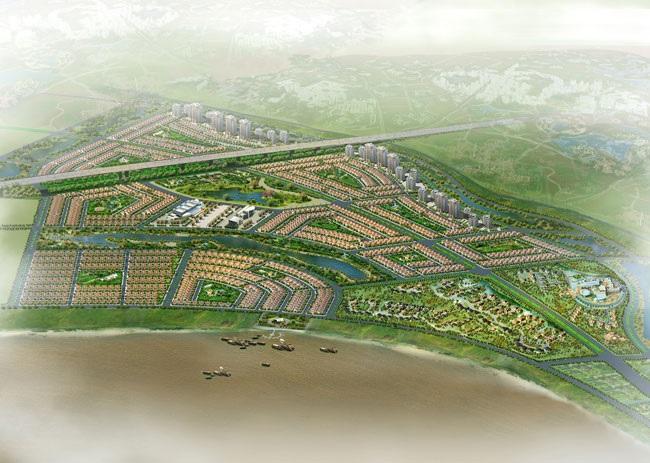 Phối cảnh tổng thể khu đô thị nhà vườn sinh thái tại thị trấn Văn Giang, huyện Văn Giang.