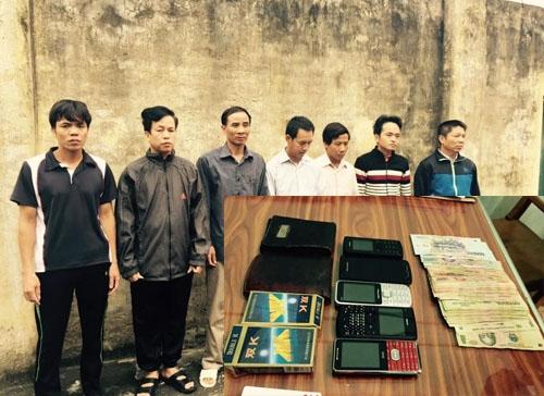 Các đối tượng tham gia sới bạc ở huyện Hoằng Hóa