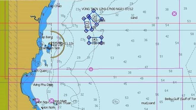 Vùng tìm kiếm các ngư dân trong ngày 7/12. Ảnh: infornet