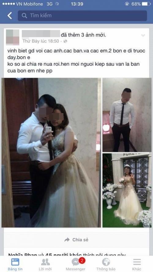 Cặp đôi mặc váy cưới, chụp ảnh kỉ niệm rồi tử tử trong khác sạn