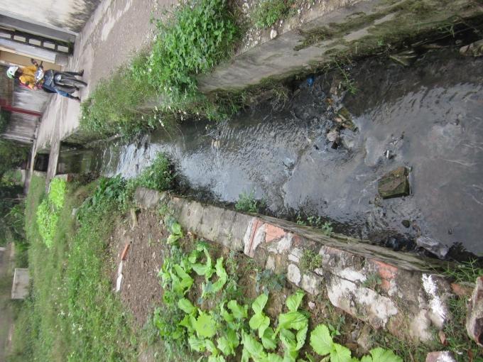 Ngay phía trước nhà dân có hẳn một con mương xả trực tiếp nước thải ra môi trường.