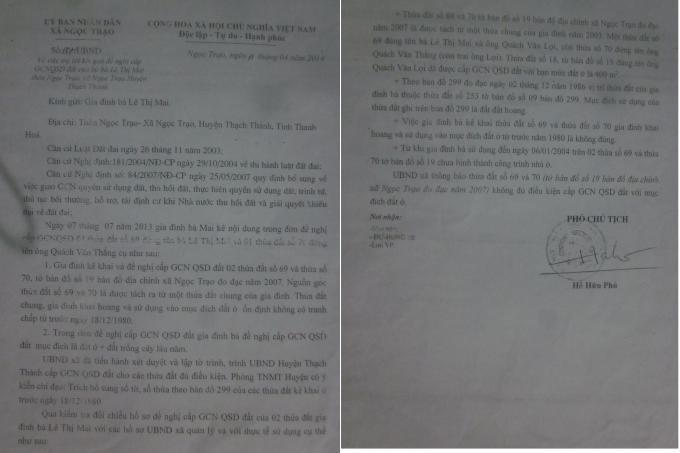 Văn bản trả lời bà Lê Thị Mai về việc không cấp sổ đỏ gia đình bà.
