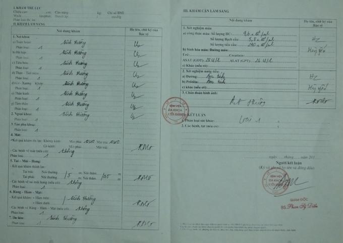 Giấy có đầy đủ chữ ký và con dấu của Giám đốc BV đa khoa huyện Yên Khánh.