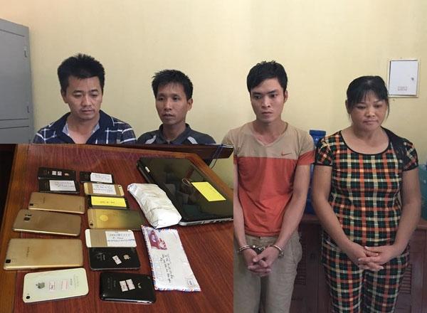 4 đối tượng bị bắt cùng tang vật công an thu được.