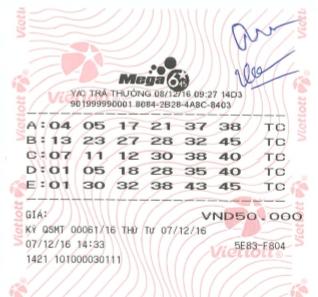 Chiếc vé trúng thưởng Jackpot sản phẩm Mega 6/45 kỳ quay số mở thướng số 61.