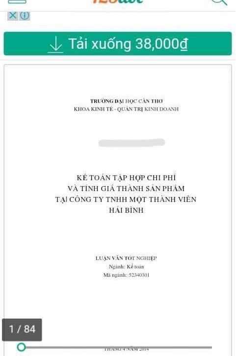 Một luật văn tốt nghiệp của sinh viên tốt nghiệp năm 2014 của trường ĐH Cần Thơ được rao bán