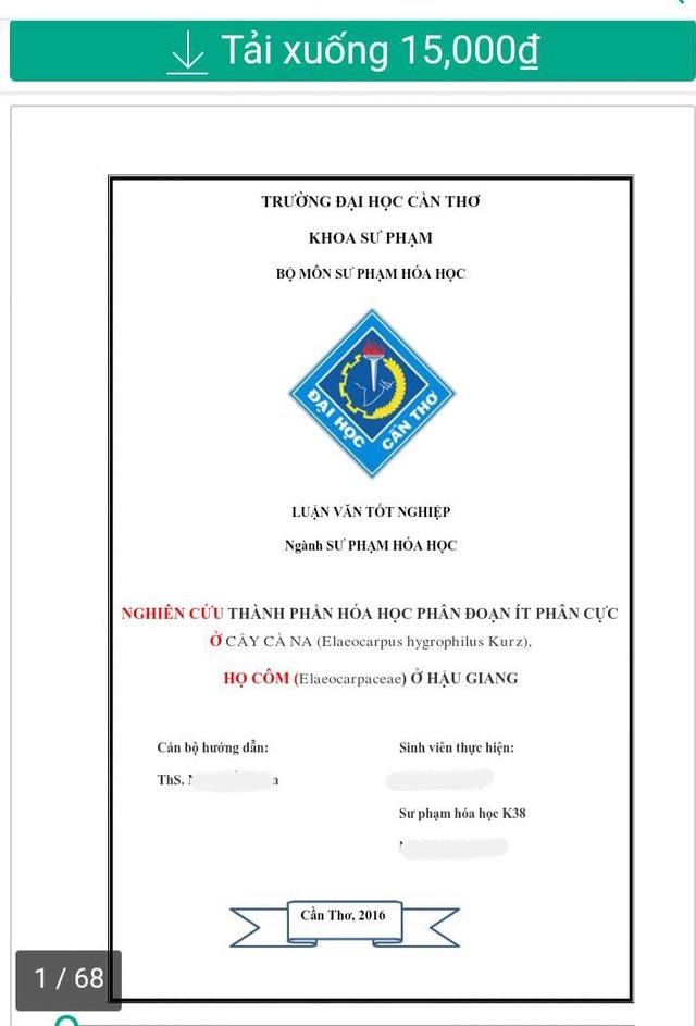 Một luận văn của sinh viên khoá 38 được rao bán trên trang web mua bán tài liệu online này