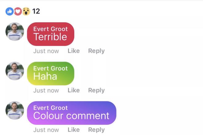 Đâ là giao diện sử dụng tính năng có màu trong các bình luận.