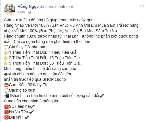 Lời quảng cáo từ tài khoản Facebook Hồng Ngọc. Ảnh: Chụp từ màn hình.