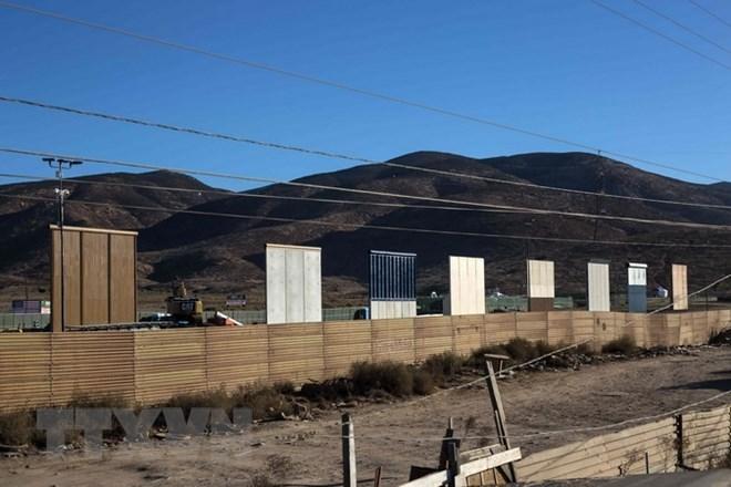 Các mẫu tường biên giới được dựng tại thành phố San Diego, bang California, Mỹ. (Nguồn: AFP/TTXVN)