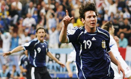 Khoảnh khắc Messi ăn mừng bàn thắng đầu tiên ở World Cup. Ảnh: Reuters