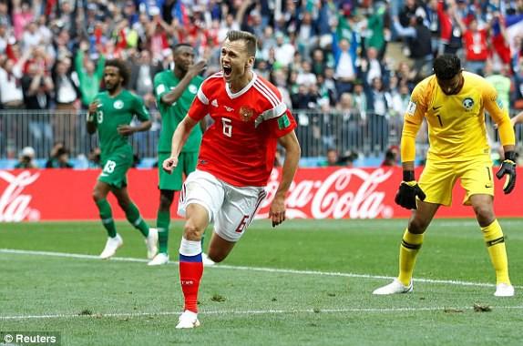 Niềm hạnh phúc của Cheryshev sau khi ghi bàn thắng cho tuyển Nga
