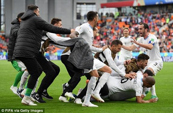 Tuyển Uruguay cuối cùng cũng đã có chiến thắng trước Ai Cập. Ảnh: FIFA via Getty Images