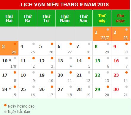 Lịch nghỉ lễ Quốc Khánh 2/9/2018.