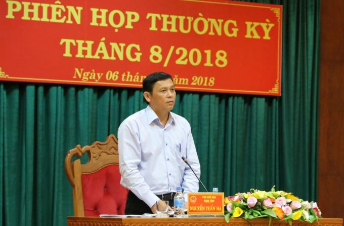 Phó Chủ tịch UBND tỉnh Nguyễn Tuấn Hà phát biểu tại phiên họp. (Ảnh: Báo Đắk Lắk Điện tử)