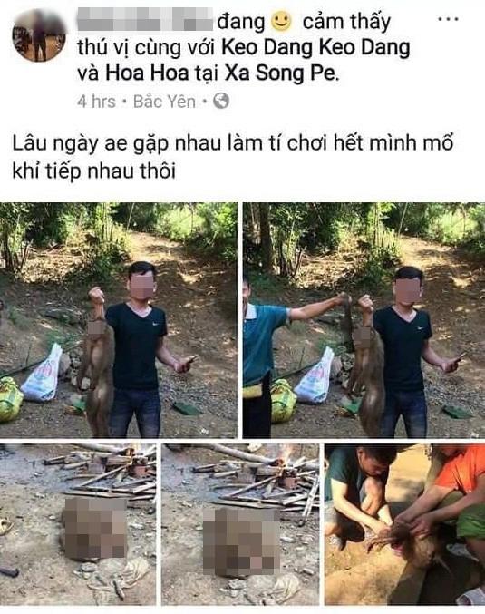 Hình ảnh nam thanh niên khoe ảnh giết khỉ hoang dã được đăng trên Facebook (Ảnh chụp màn hình).