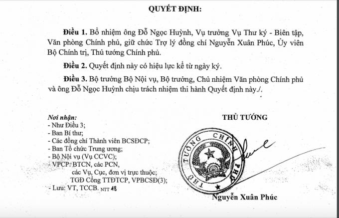 Quyết định bổ nhiệm ông Đỗ Ngọc Huỳnh làm trợ lý Thủ tướng. (Ảnh: Báo Giao thông)