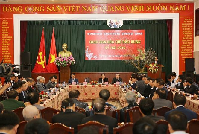 Quang cảnh Hội nghị giao ban báo chí đầu Xuân Kỷ Hợi 2019. Ảnh: Dương Giang/TTXVN