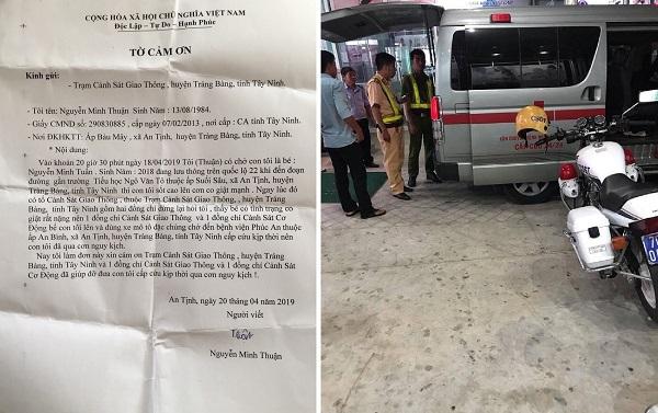 Bức thư cảm ơn của người dân gửiPhòng CSGT Công an tỉnh Tây Ninh.