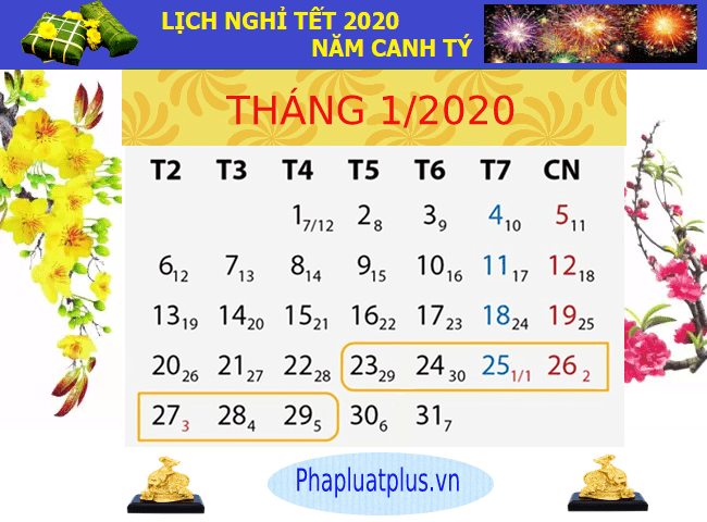 lich nghi tet 2020 nam canh ty