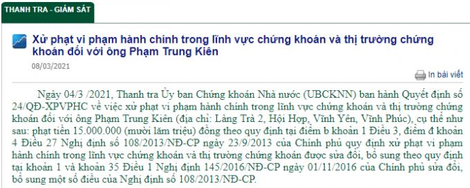 Xu phat hanh chinh ong pham trung kien