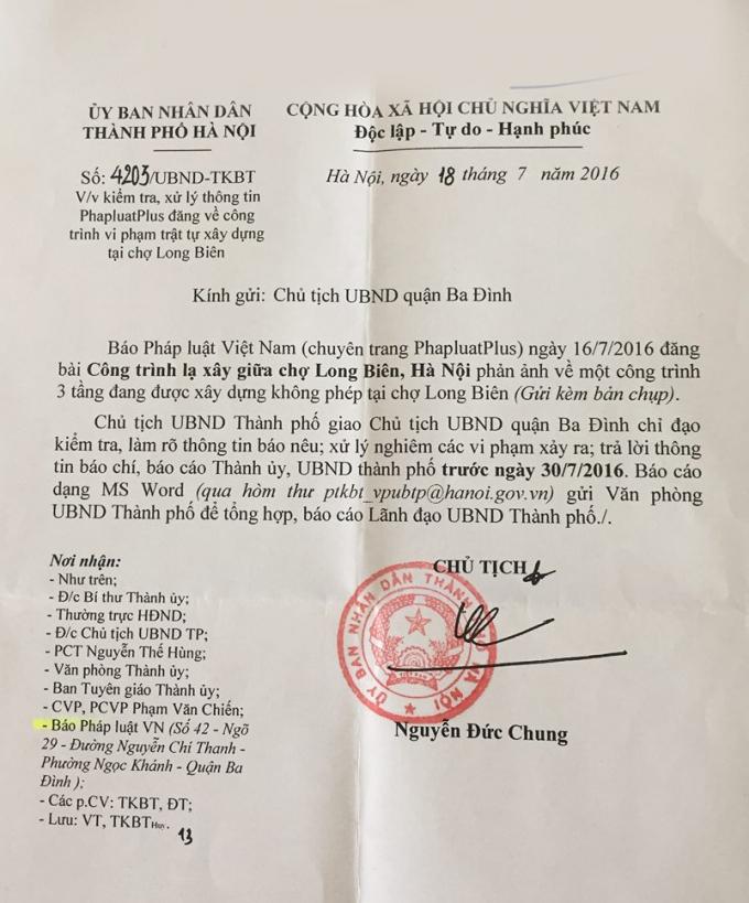 Công văn của Chủ tịch TP Hà Nội Nguyễn Đức Chung.