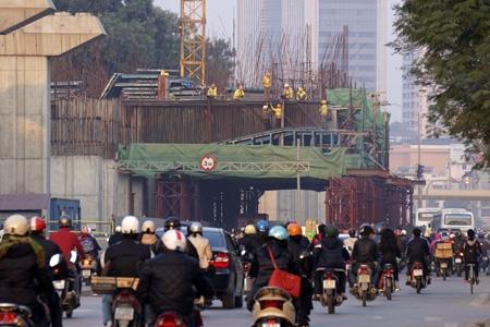Đường sắt Cát Linh - Hà Đông đang gấp rút thi công các nhà ga (ảnh: Hữu Nghị).