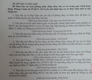 Biên bản kiểm tra của Phòng Cảnh sát PCCC số 8 chỉ ra hàng loạt tồn tại ở Chung cư 129