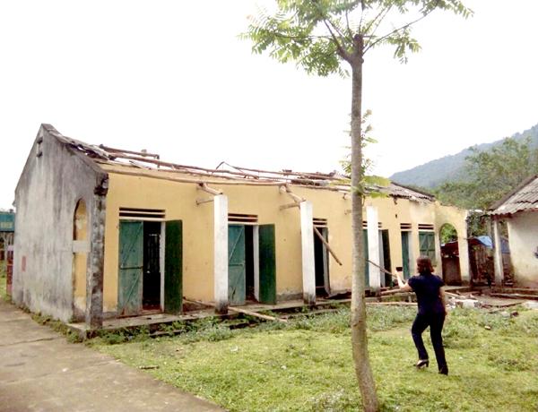 Mưa đá gây thiệt hại tại thôn Làng Khẻn, xã Đạo Đức. (Ảnh: Baohagiang.vn)