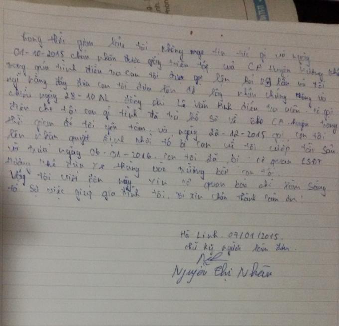 Đơn thư của bà Nhàn gửi Phapluatplus.vn và các cơ quan báo chí.