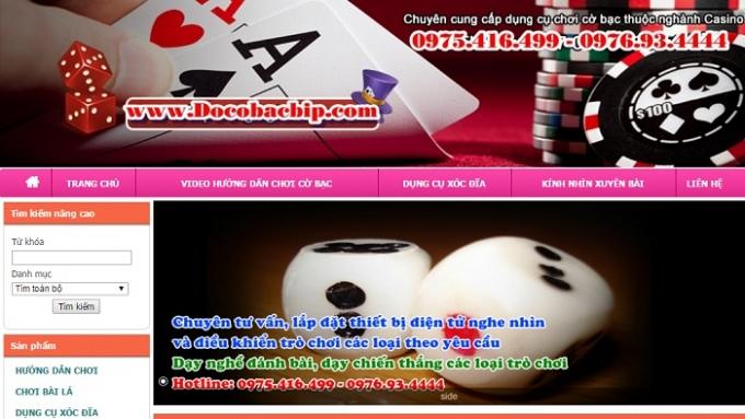 Website rao bán đồ cờ bạc bịp.