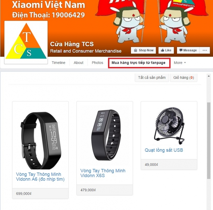 Giao diện mua sắm (shop) trên Fanpage Facebook.