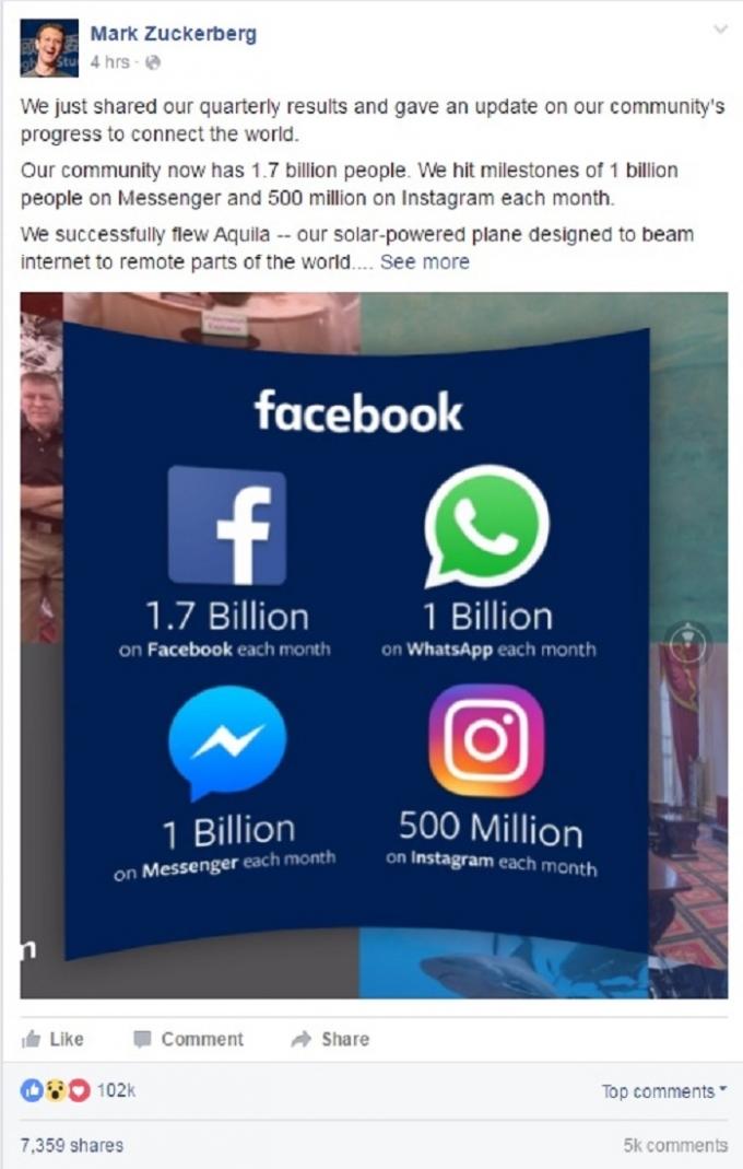 Chia sẻ trên trang cá nhân của ông chủ Facebook - Mark Zuckerberg.