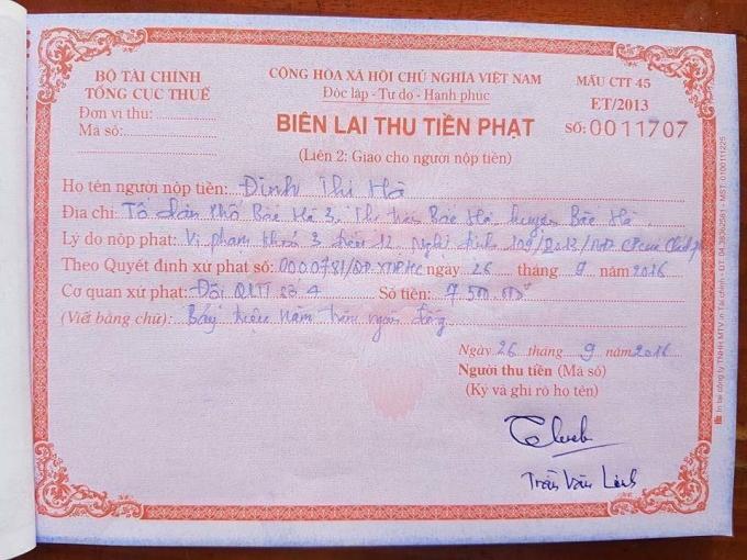 Biên lai xử phạt cơ sở kinh doanh Hà Sa vi phạm.